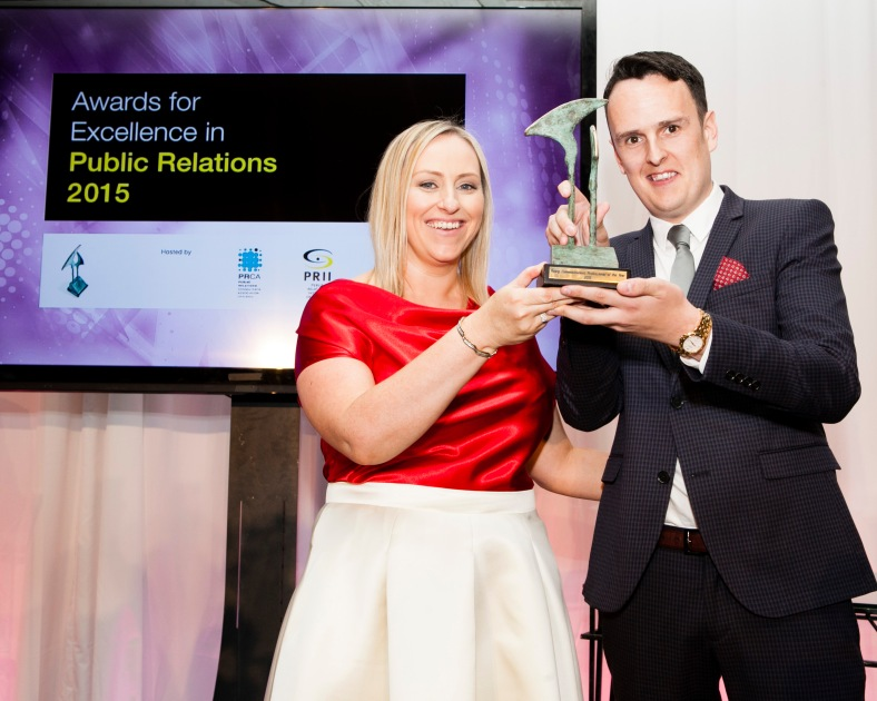 The winners of the 2015 PR Awards for Excellence were announced at a gala event in the Shelbourne Hotel Dublin. This year saw the highest level of entries in the 22 year history of the Awards. The Awards recognise the key role PR plays in helping organisations achieve their business objectives across 20 categories. Best Young Communications Professional Martyn Rosney, Wilson Hartnell